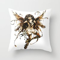 fairy Throw Pillows featuring fairy by Vector Art