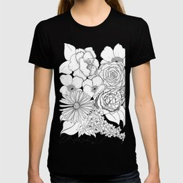 Flower Bouquet Black and White Illustration T-shirt