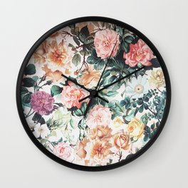 Vintage green pink yellow watercolor roses floral Wall Clock