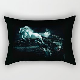 White Horse and The Attack of Wild Wolves Rectangular Pillow