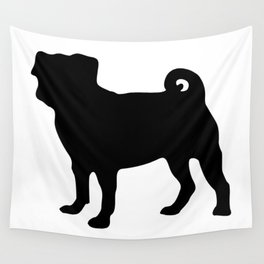 Simple Pug Silhouette Wall Tapestry