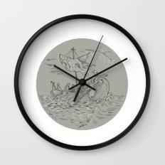 Ancient Greek Trireme Warship Circle Drawing Wall Clock