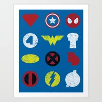 super heroes Art Prints featuring Super Simple Heroes by Resistance