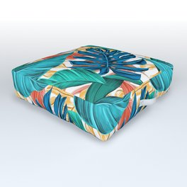 Colorful Tropical Jungle Leaves Outdoor Floor Cushion