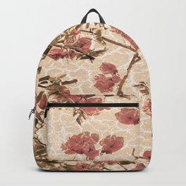 Textured Vintage Floral Motif Backpack