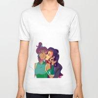 korra V-neck T-shirts featuring Korra & Asami by polterghast