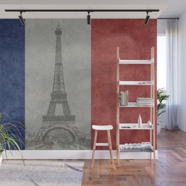 Flag of France with Eiffel Tower Vintage style Wall Mural