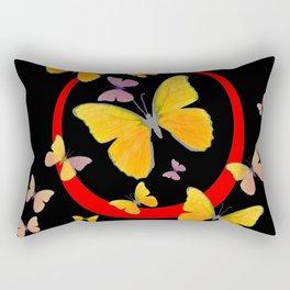 YELLOW BUTTERFLIES & RED RING  ABSTRACT ART Rectangular Pillow