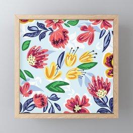Watercolor Summer Flower Bouquet Framed Mini Art Print