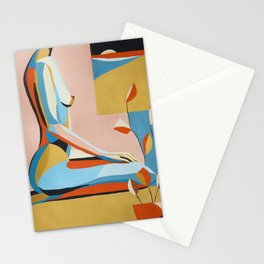 Woman, window and plant Stationery Cards