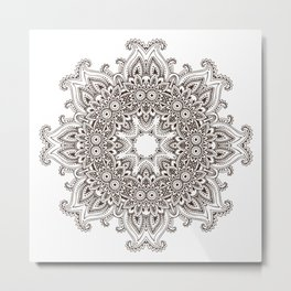 Mandala Bohemian Embellishments Decor Medallion Black on White Metal Print