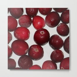 Cranberries On White Metal Print