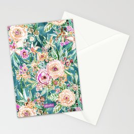 Teal MAUI MINDSET Colorful Tropical Floral Stationery Cards