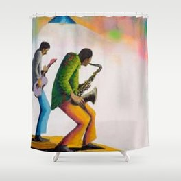 African American Masterpiece 'Bass, Sax, and Jazz' by Benny Andrews Shower Curtain