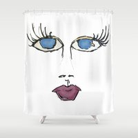 no face Shower Curtains featuring Face by BNK Design
