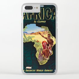 Africa by Clipper  - 1960s Vintage Travel Poster Clear iPhone Case