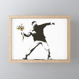 Banksy - Man Throwing Flowers - Antifa vs Police Manifestation Design For Men, Women, Poster Framed Mini Art Print