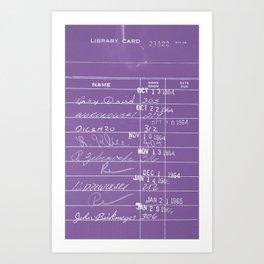 Library Card 23322 Negative Purple Art Print