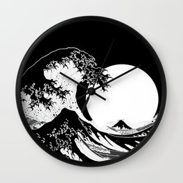 The Great Wave Black and White Inverse Wall Clock
