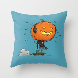 The Skater Pumpkin Throw Pillow