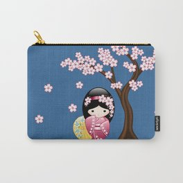 Japanese Spring Kokeshi Doll on Blue Carry-All Pouch