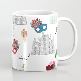 Milan, Italy seamless pattern with hand drawn sketch Coffee Mug