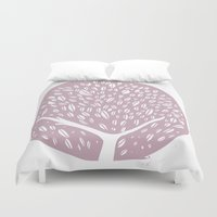 tree of life Duvet Covers featuring Tree of life - lilac by Seven Roses