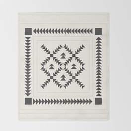 Black and White Quilt Block Throw Blanket