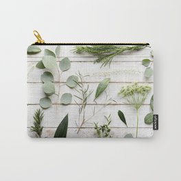 Green Botanical Flowers Carry-All Pouch
