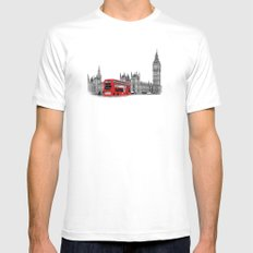 Black and White London with Red Bus Mens Fitted Tee MEDIUM White
