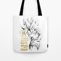 dragonball z Tote Bags featuring Dragonball Z - Honor by Straife01