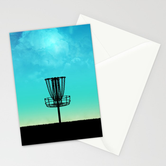 Disc Golf Basket Silhouette Stationery Cards By Perkinsdesigns