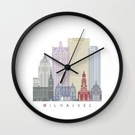 Milwaukee skyline poster Wall Clock