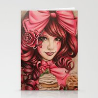 strawberry Stationery Cards featuring Strawberry  by Sheena Pike ART