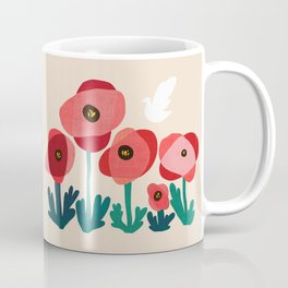 Poppy flowers and bird Coffee Mug