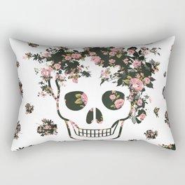 Flower Skull, Floral Skull, Pink Flowers on Human Skull Rectangular Pillow