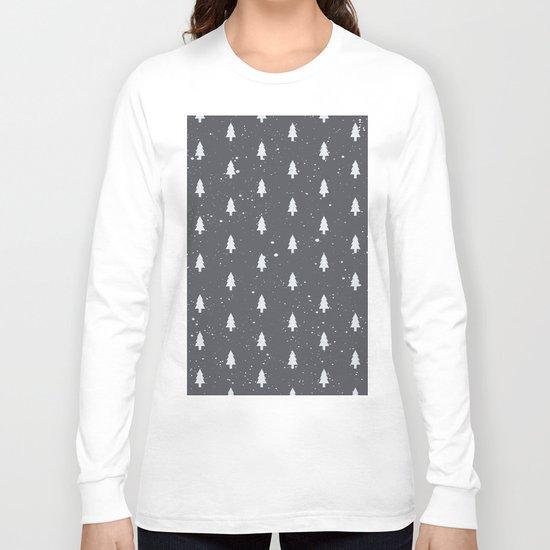 Christmas Trees Pattern Grey Long Sleeve T-shirt
