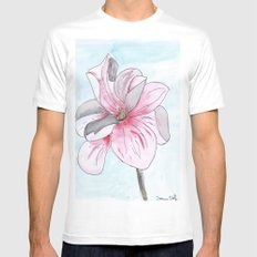 Magnolia Flower watercolor White MEDIUM Mens Fitted Tee