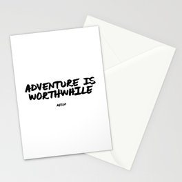 'Adventure is Worthwhile' Aesop Quote Hand Letter Type Word Black & White Stationery Cards