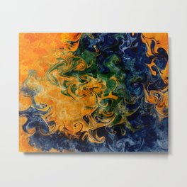 Swirling Colors of Orange, Green, and Blue Abstract Pattern Metal Print