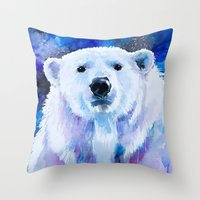 polar bear Throw Pillows featuring Polar bear  by Slaveika Aladjova