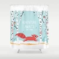 adventure Shower Curtains featuring Adventure Awaits by Freeminds