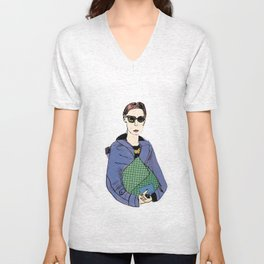 Bag Lady Blue Unisex V-Neck