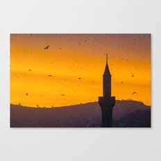 A minaret engulfed by birds 2 Canvas Print
