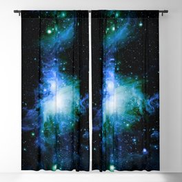 Orion Nebula Blue Green Blackout Curtain