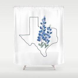 texas // watercolor bluebonnet state flower map Shower Curtain