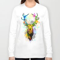 popart Long Sleeve T-shirts featuring Deer PopArt Dripping Paint by BluedarkArt
