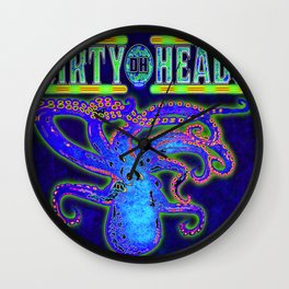 Dirty Heads Octopus  Trippy Psychedelic Character Design by CAP Wall Clock
