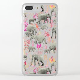 Sweet Elephants in Pink, Orange and Cream Clear iPhone Case