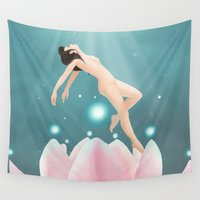lotus flower Wall Tapestries featuring Lotus by Penelope